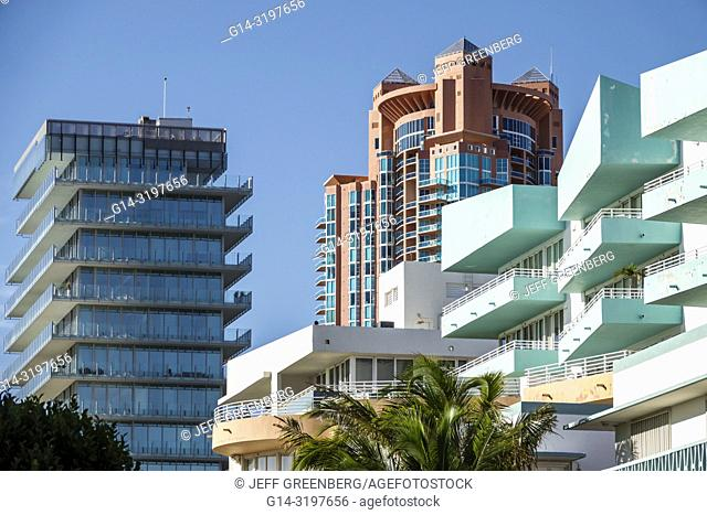 Florida, Miami Beach, Ocean Drive, South Pointe, high rise condominium buildlings, Portofino, Ocean Place, Glass