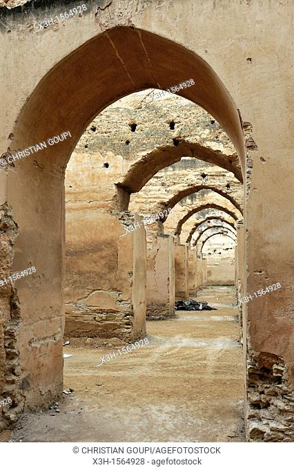 ruins of the former Moulay Ismail Royal Stables Meknes, Morocco, North Africa