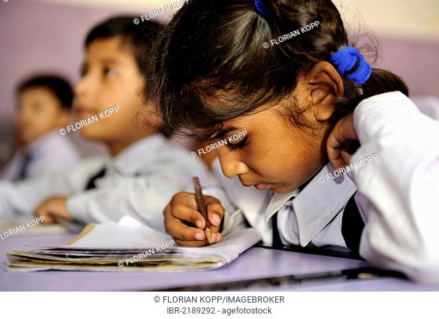 Girl in a school of the Christian community in Lahore, Punjab, Pakistan, Asia