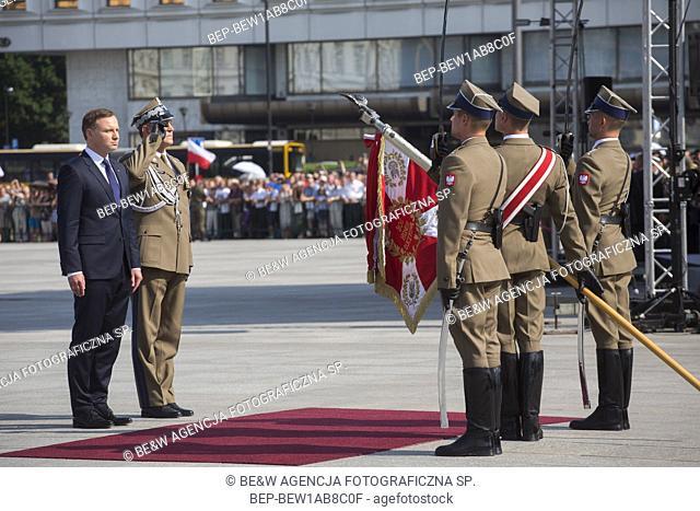 Aug. 6, 2015 Warsaw, presidential inauguration in Poland: Andrzej Duda sworn in as new Polish president. Ceremony at the Marshal Jozef Pi³sudski Square -...