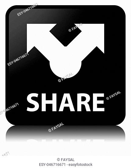 Share isolated on black square button reflected abstract illustration