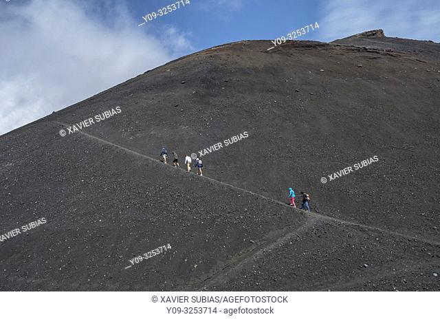 Hikers, Mount Etna, Catania, Sicily, Italy