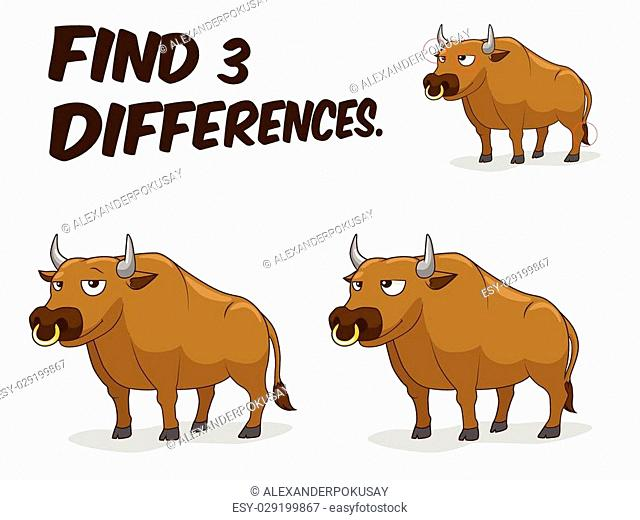 Find differences game bull cartoon colorful vector illustration