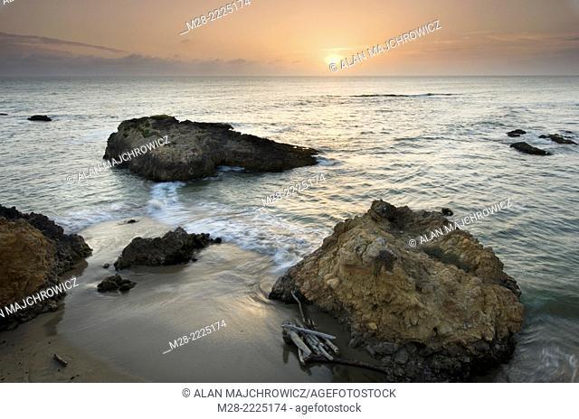 Sunset over Pescadero Beach on the San Mateo Coast California