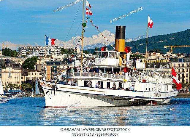 A Steamboat, lake Geneva, Geneva, Switzerland, Europe