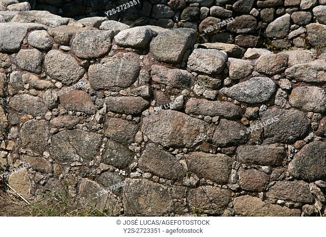 """Detail of the Celtic settlement of """"""""Castro del Monte do Facho"""""""" - first century BC, Donon, Pontevedra province, Region of Galicia, Spain, Europe"""