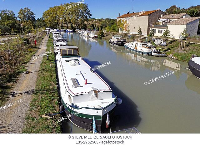 Boats moored along the Canal du Midi, Capestang, France
