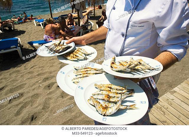 Sardines. Restaurante Beach Club El Fuerte. Playa de Venus. Marbella. Andalucia. Spain
