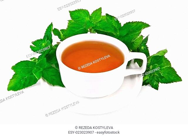 Herbal tea in a white cup with mint