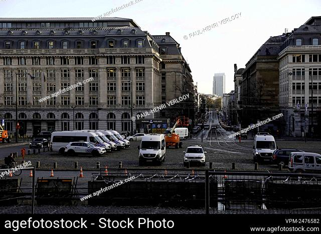Illustration picture shows police cars waiting in front of the Justice Palace, ahead of a session of the Brussels council chamber regarding the procedures in...