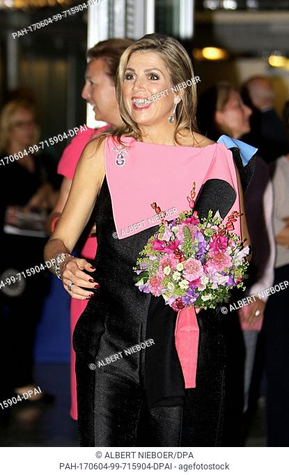 Queen Máxima of The Netherlands leaves at the Gashouder of the Westergasfabriek in Amsterdam, on June 3, 2017, after attending the opening of the 70th Holland...