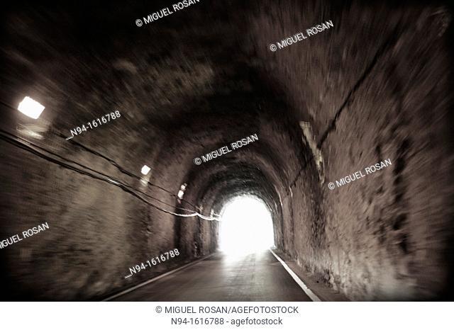 End of a tunnel through a mountain road just off Albarracín, Teruel, Aragón