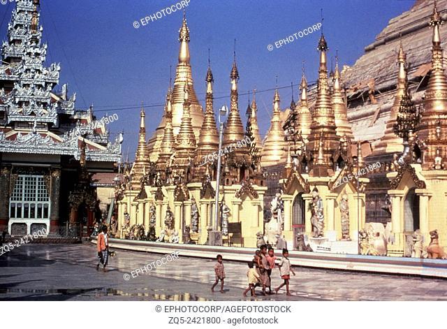 Shwedagon shrines surrounding base of the stupa. Rangoon, Burma