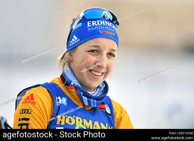 Franziska PREUSS (GER), action, single image, cut single motif, portrait, portrait, portrait. 7.5km sprint of women, women on January 15th, 2020
