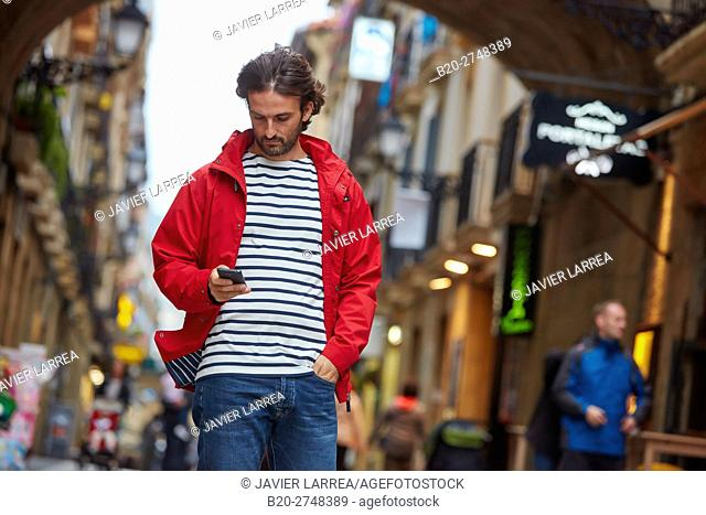 Young man, Parte Vieja, Old town, Donostia, San Sebastian, Gipuzkoa, Basque Country, Spain, Europe