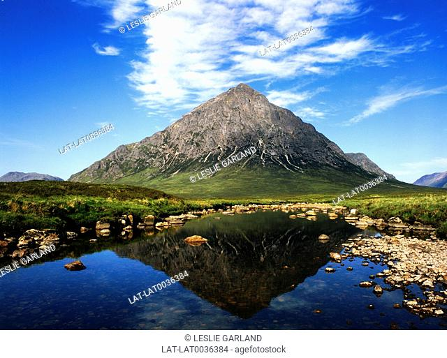 Stob Dearg,or Buachaille Etive Mor seen from Rannoch Moor,with the mountain reflected clearly in the water of the River Etive below