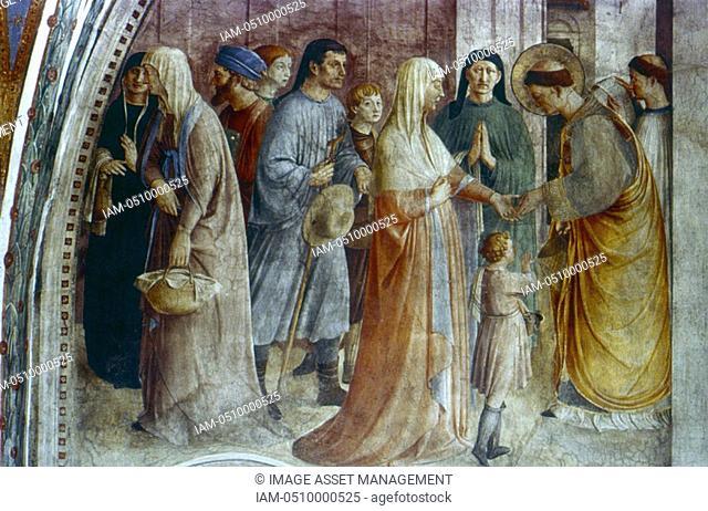 Fra Angelico Guido di Pietro/Giovanni da Fiesole c1400-55 Italian painter  'St Stephen giving Alms in Rome'  Fresco,Chapel of Nicholas V, Vatican Palace