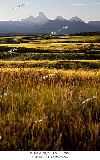 Felt, Idaho - The Teton mountain range, from farm land in eastern Idaho