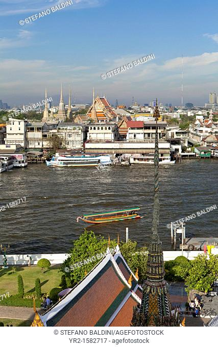 View of Wat Po from the Buddhist temple of Wat Arun, Bangkok, Thailand