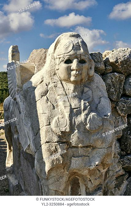 Picture & image of Hittite Sphinx sculpture of the Sphinx Gate. Hattusa ( Hattusas) late Anatolian Bronze Age capital of the Hittite Empire
