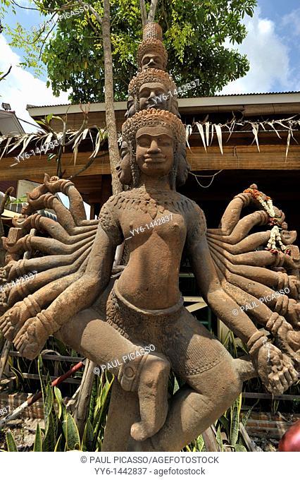 weird religious statue , Rong kleu market on the thai Cambodian border,strange shopping mecca for fake goods, aranyapraphet, eastern thailand