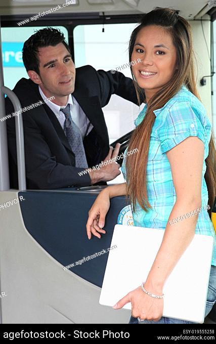 Student boarding a tram