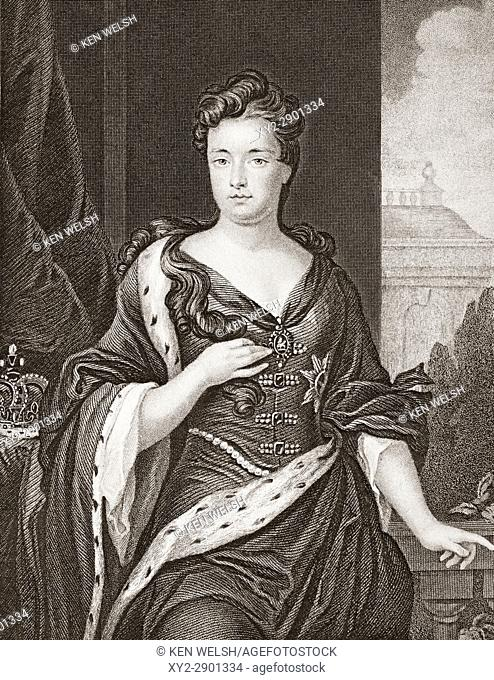 Queen Anne, 1665 - 1714. Queen of Great Britain from 1702 - 1714. Second daughter of James II. From the book Gallery of Historical Portraits published c