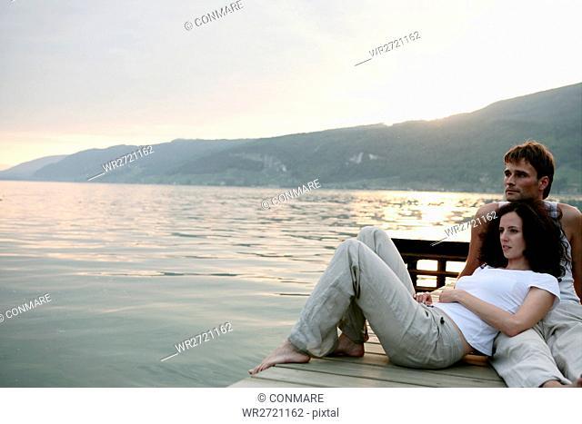 couple, beauty, lakeside, silence, sunset, portrai