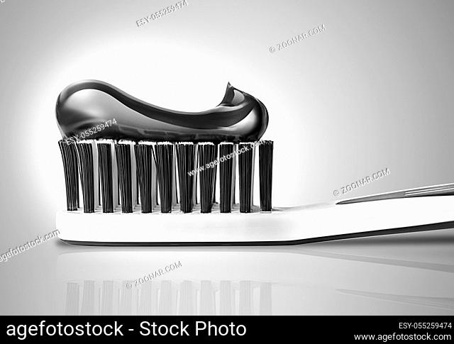 toothbrush with toothpaste close-up in black and white colors. 3D design