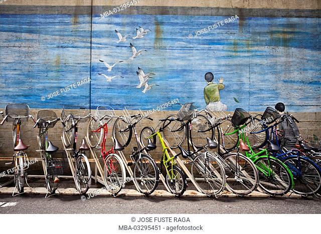 Japan, Tokyo, cycle rack at Kinshicho railway station