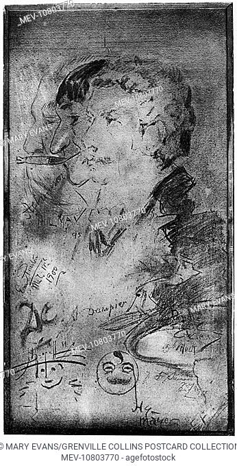Doodlings on a panel at Paganis Restaurant, Great Portland Street, London, including a self-portrait by Phil May (1864-1903)