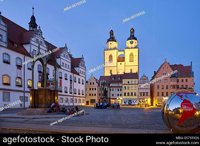 Market with town hall and town church St. Marien in Wittenberg, Saxony-Anhalt, Germany