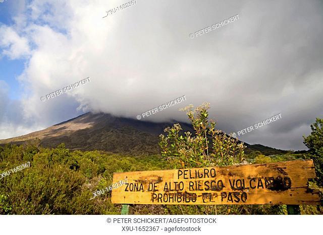 danger sign Arenal Volcano near La Fortuna, Costa Rica, Central America