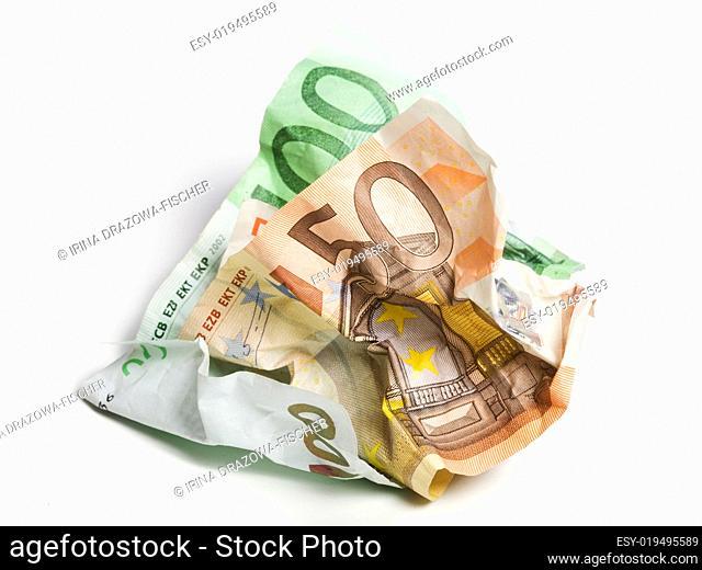 Zerknitterte Banknoten