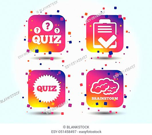 Quiz icons. Brainstorm or human think. Checklist symbol. Survey poll or questionnaire feedback form. Questions and answers game sign