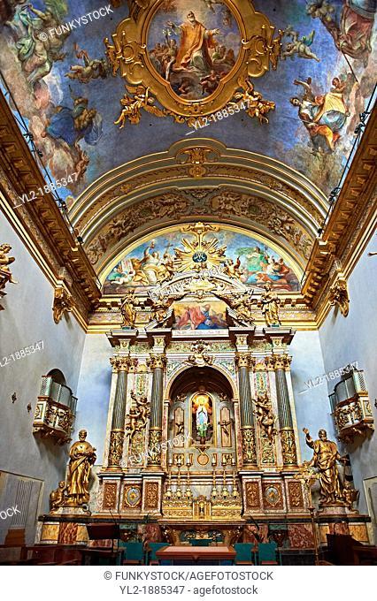 Baroque altar of the Oratario of the Fratenity of St  Anthony of Padua  Orario dell Fraternita S  Antonia di Padova  Assisi Italy