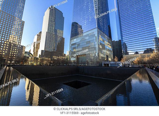 North Pool memorial fountain, Ground Zero, One World Trade Center, Lower Manhattan, New York City, USA
