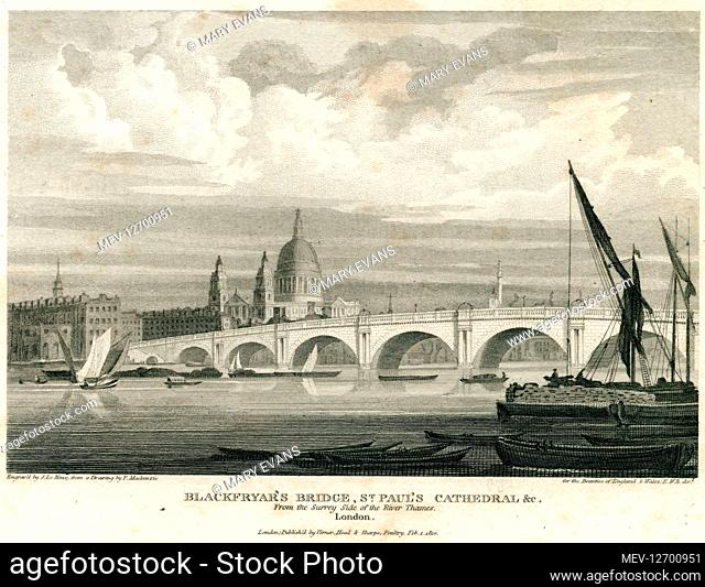 A view of Blackfriars Bridge from the Surrey side of the river, with St Pauls Cathedral in the background