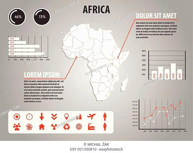 Map of Africa - infographic illustration with charts and useful icons