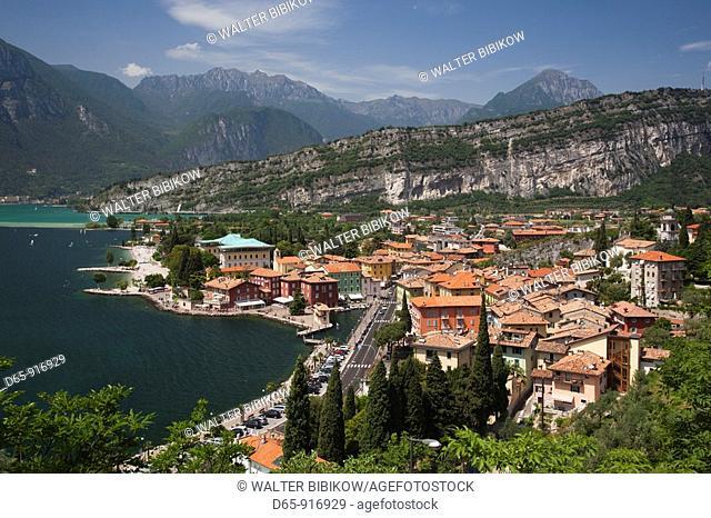 Italy, Trentino-Alto Adige, Lake District, Lake Garda, Torbole-Nago, aerial town view