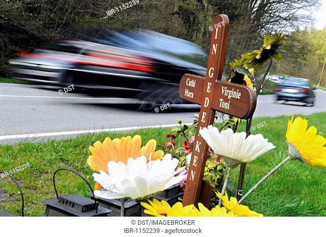 Commemorative cross of the Speeder-Offender-Victim foundation, accident site on the Ruegen Island, on the highway B96 between Lietzow and Bergen