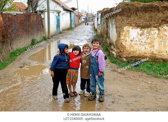 Children posing in the Romany district of Kosovo Polje, Serbia and Montenegro