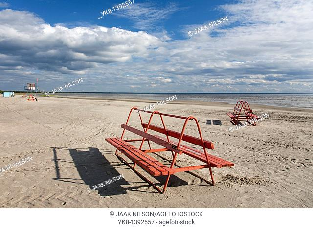 Empty Pärnu Beach Bench in Estonia, Europe