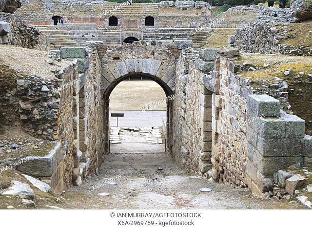 Entrance gateway to gladiatorial arena of Circa Romano hippodrome, Merida, Extremadura, Spain