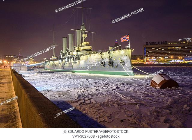 Armoured cruiser Aurora which started russian revolution in 1917 St Petersburg Russia