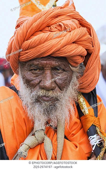 Portrait of a Sadhu or holy man during Dnyaneshwar Maharaj palkhi sohala, Pune, Maharashtra