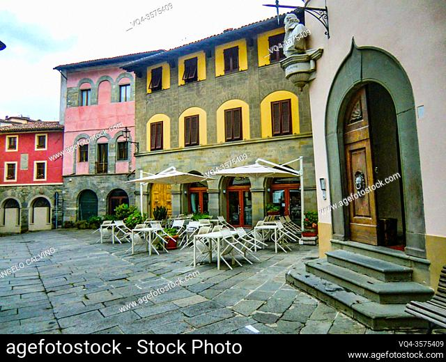 View of narrow streets in old town of Barga a medieval hilltop town in Tuscany, Garfagnana, Italy, Europe