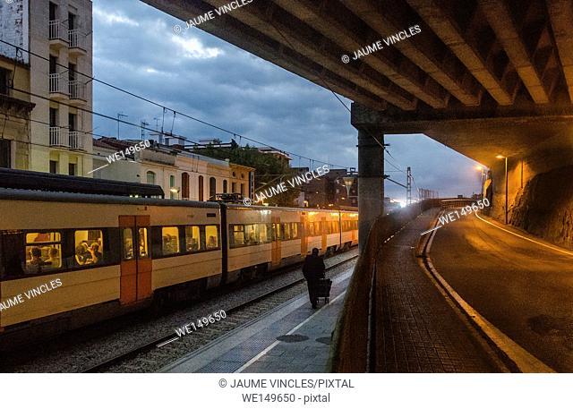 Train station, Caldes d'Estrac, Maresme, Barcelona Province, Spain