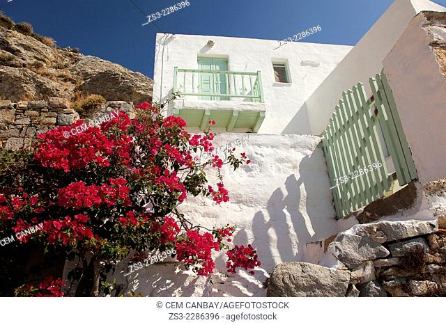 Whitewashed houses with colorful balconies and windows in Hora, Serifos, Cyclades Islands, Greek Islands, Greece, Europe