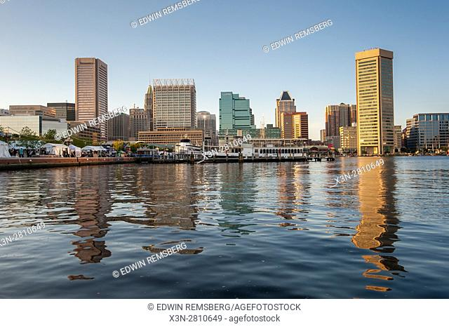 A view of the Baltimore skyline from the Inner Harbor